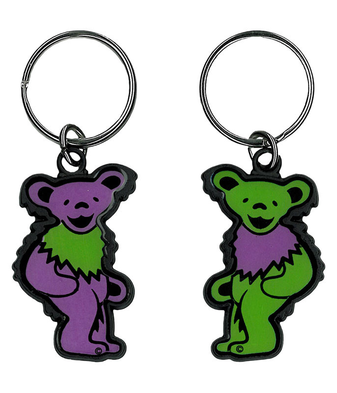 Grateful Dead Green and Purple Bear Keychain Liquid Blue