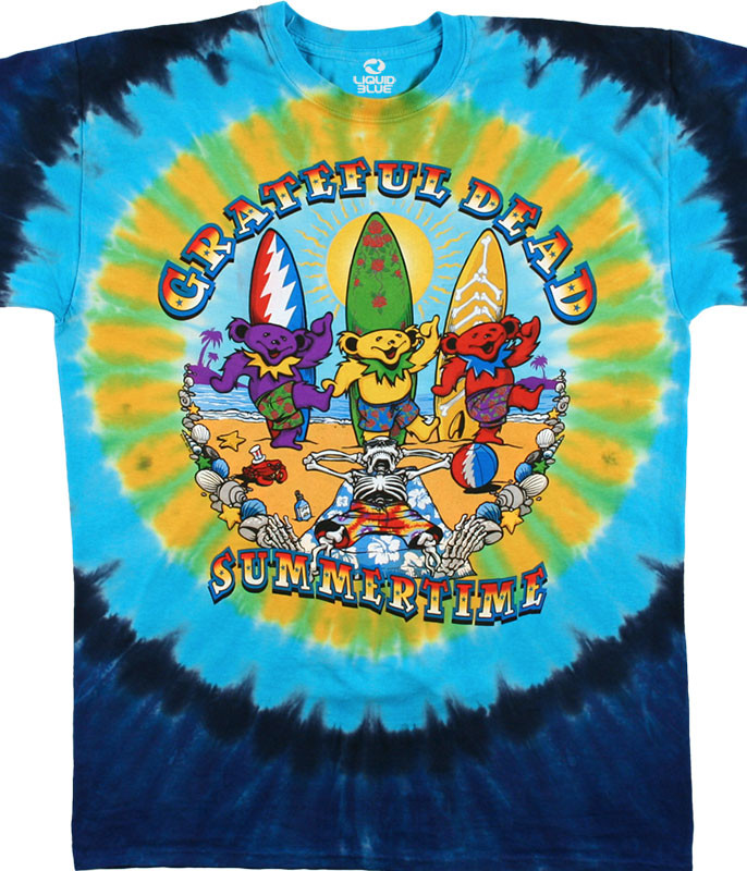 Grateful Dead Beach Bear Bingo Tie-Dye T-Shirt Tee Liquid Blue