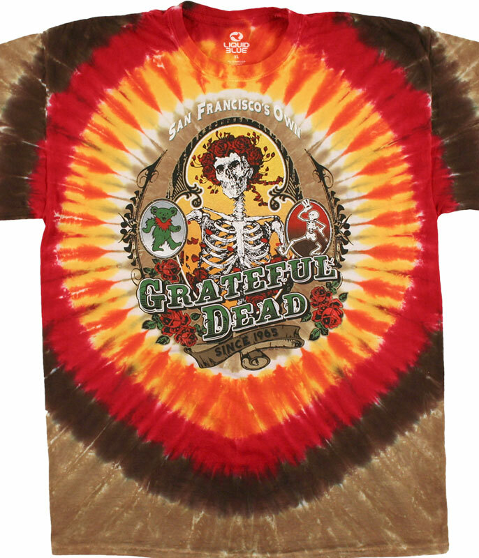 Grateful Dead Bay Area Beloved Tie-Dye T-Shirt Tee Liquid Blue