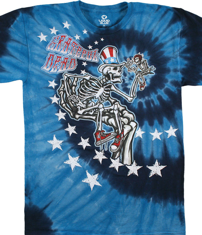 Grateful Dead Uncle Sam I Am Tie-Dye T-Shirt Tee Liquid Blue
