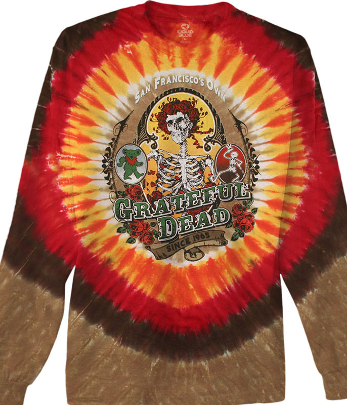 Grateful Dead Bay Area Beloved Tie-Dye Long Sleeve T-Shirt Tee Liquid Blue