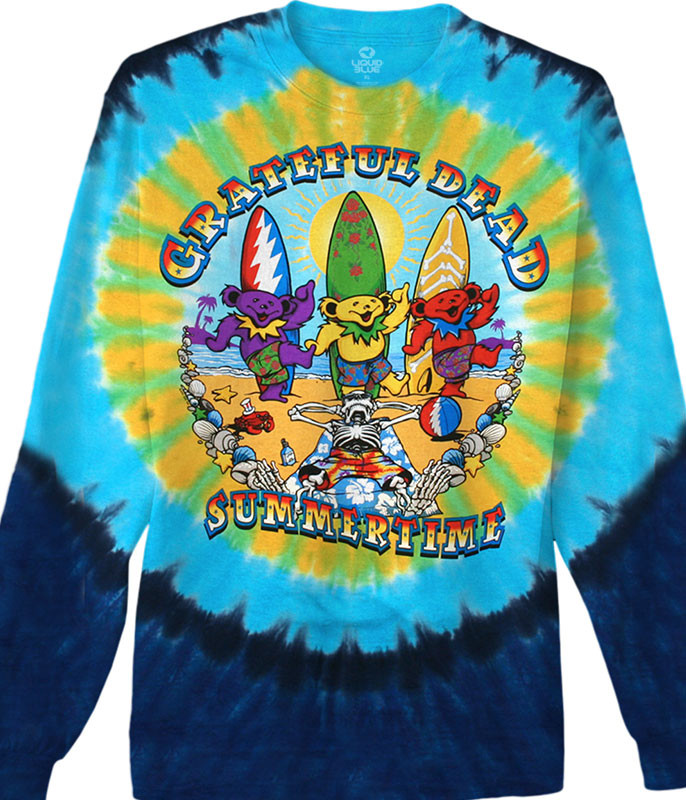 Grateful Dead Beach Bear Bingo Tie-Dye Long Sleeve T-Shirt Tee Liquid Blue