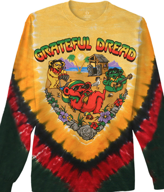 Grateful Dead Positive Vibrations Tie-Dye Long Sleeve T-Shirt Tee Liquid Blue