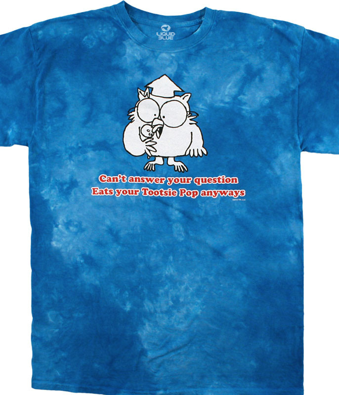 Tootsie Roll Mr. Owl Tie-Dye T-Shirt Tee Liquid Blue