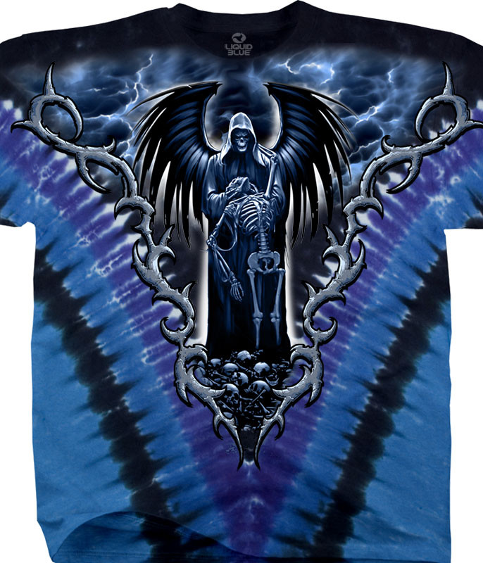 Dark Fantasy Death Angel Tie-Dye T-Shirt Tee Liquid Blue