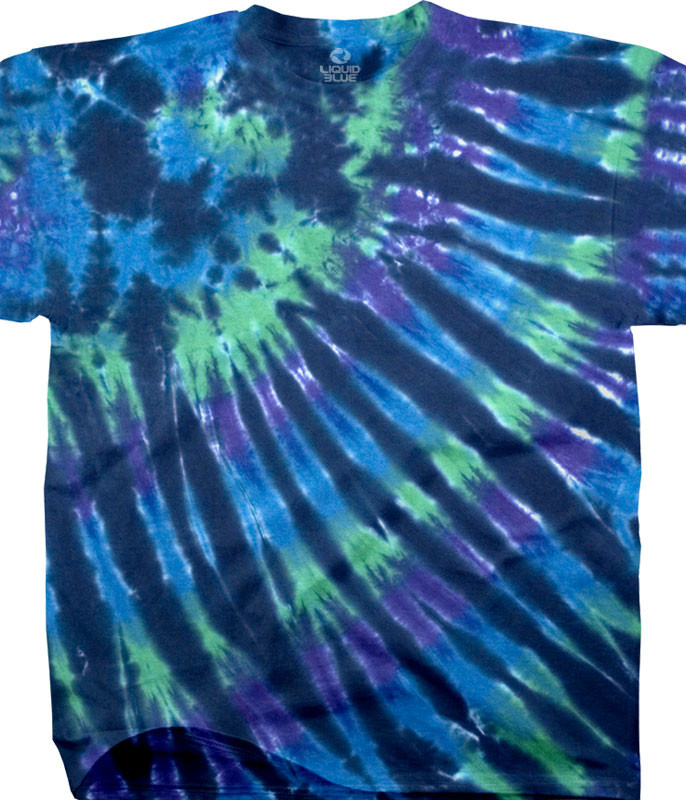 Cool Nebula Unprinted Tie-Dye T-Shirt Tee Liquid Blue
