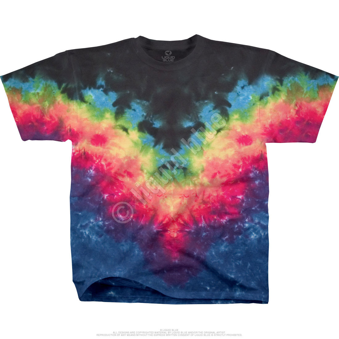 Symmetrical Rainbow Unprinted Tie-Dye T-Shirt