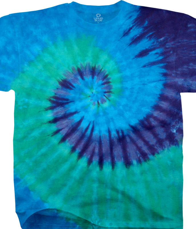 Cool Spiral Unprinted Tie-Dye T-Shirt Tee Liquid Blue
