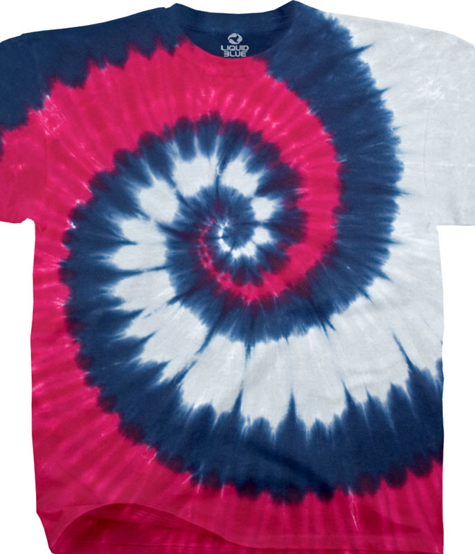 Patriotic Spiral Youth Unprinted Tie-Dye T-Shirt