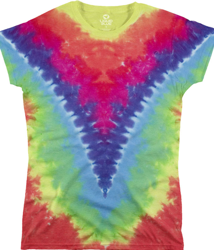 Rainbow V Unprinted Juniors Long Length Tie-Dye T-Shirt