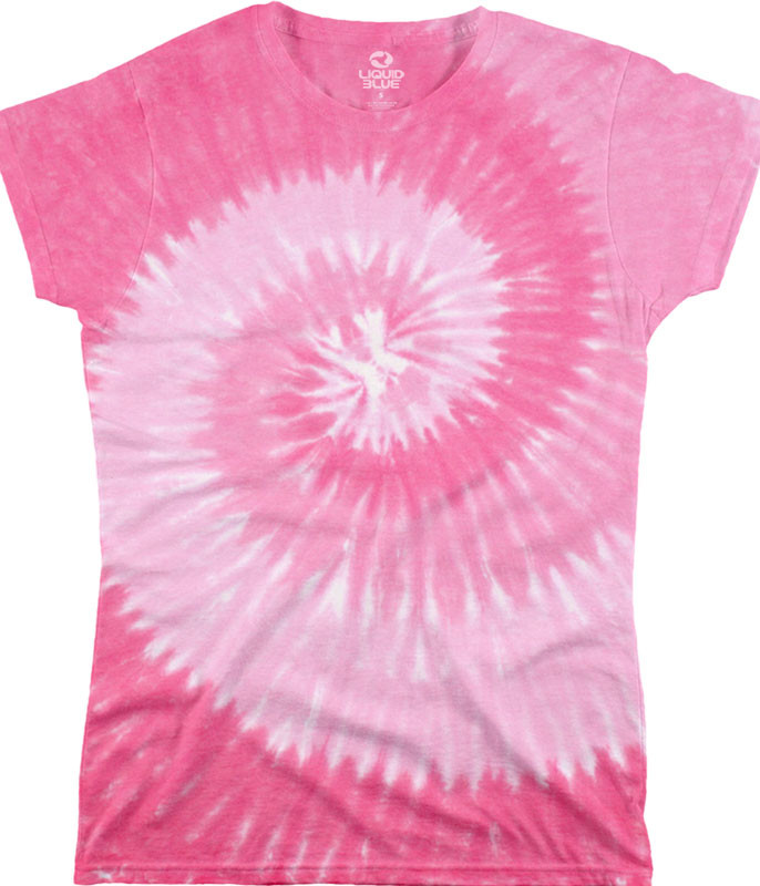 Unprinted Pink Spiral Unprinted Juniors Long Length Tie Dye T-Shirt Tee Liquid Blue