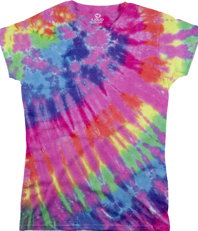 Rainbow Nebula Unprinted Juniors Long Length Tie Dye T-Shirt Tee Liquid Blue
