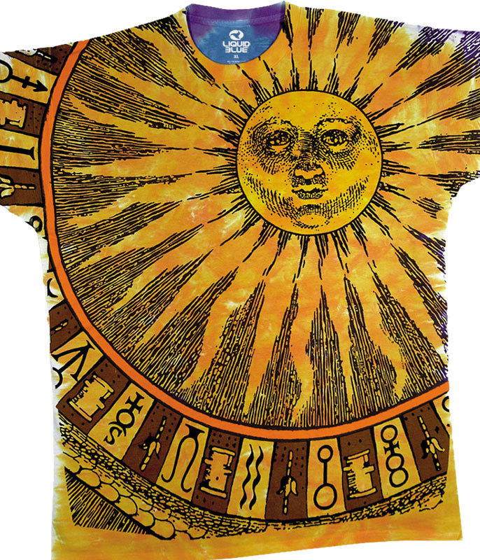 Space Sun Moon Tie-Dye T-Shirt Tee Liquid Blue