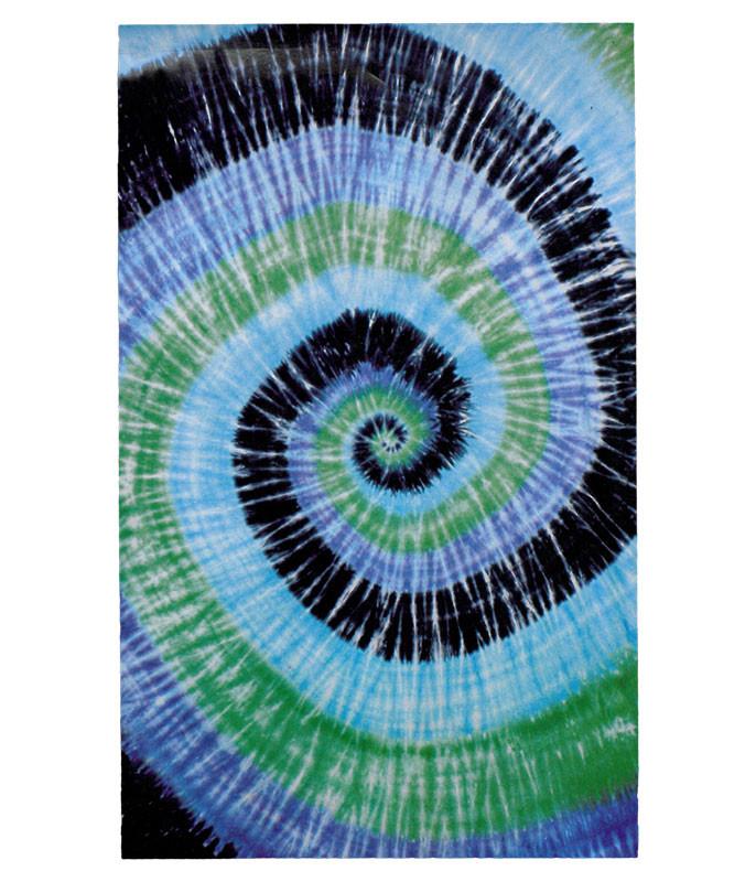 Blue Spiral Tie-Dye Tapestry