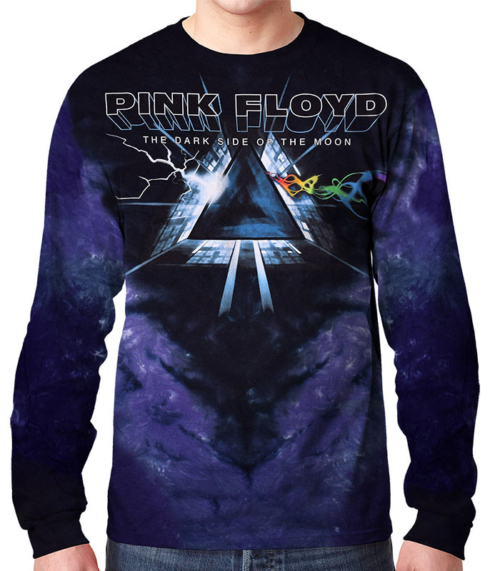 Pink Floyd Dark Side Vortex Tie-Dye Long Sleeve T-Shirt Tee Liquid Blue