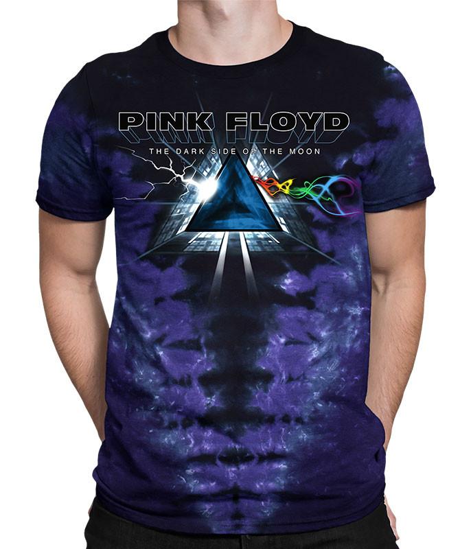 Pink Floyd Dark Side Vortex Tie-Dye T-Shirt Tee Liquid Blue