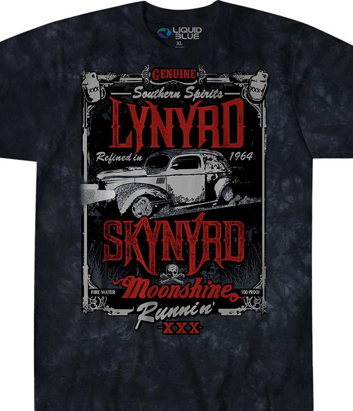 Lynyrd Skynyrd Moonshine Runnin' Tie-Dye T-Shirt Tee Liquid Blue