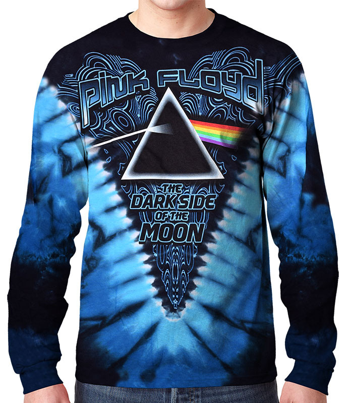 Pink Floyd Dark Side of the Moon Tie-Dye Long Sleeve T-Shirt Tee Liquid Blue