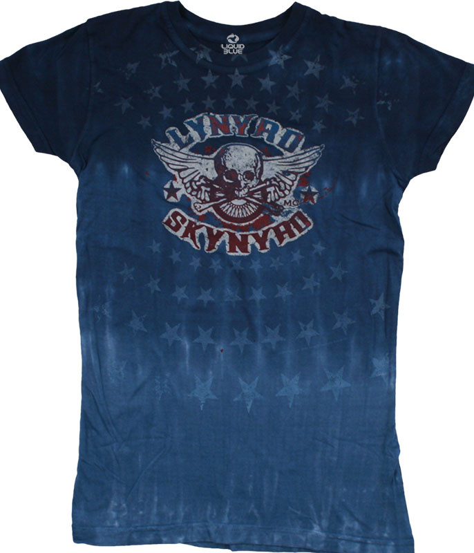 Lynyrd Skynyrd Stars Juniors Tie-Dye Juniors Long Length T-Shirt Tee Liquid Blue