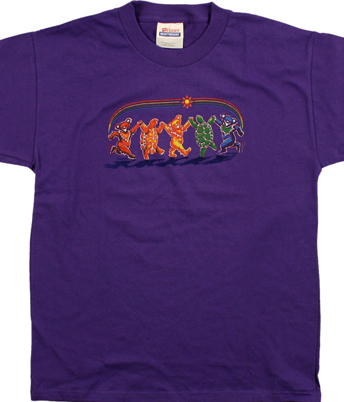 Grateful Dead GD Rainbow Critters Youth Purple T-Shirt Tee