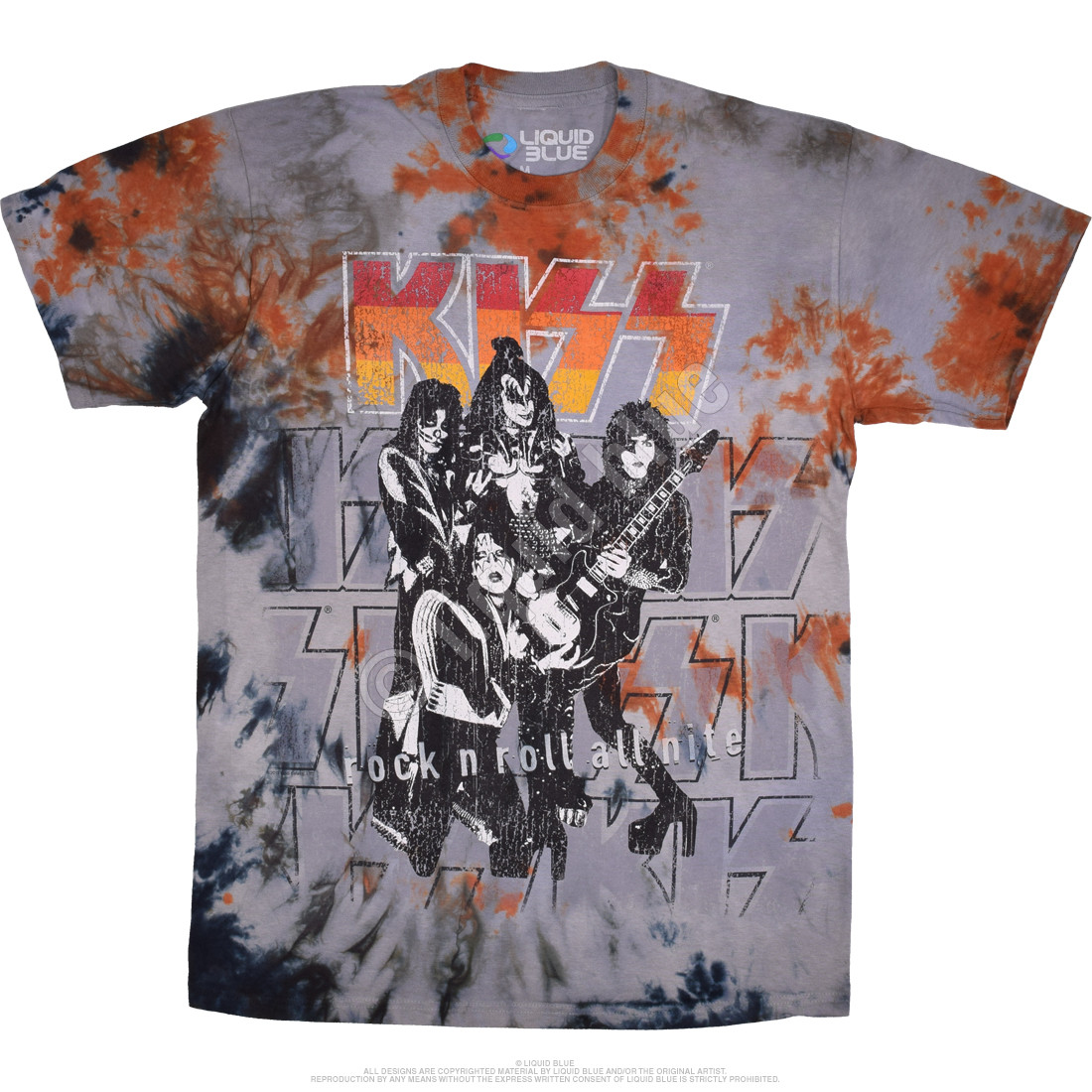 XL Kiss Road Crew 77 M L 2XL Tie Dye T-Shirt