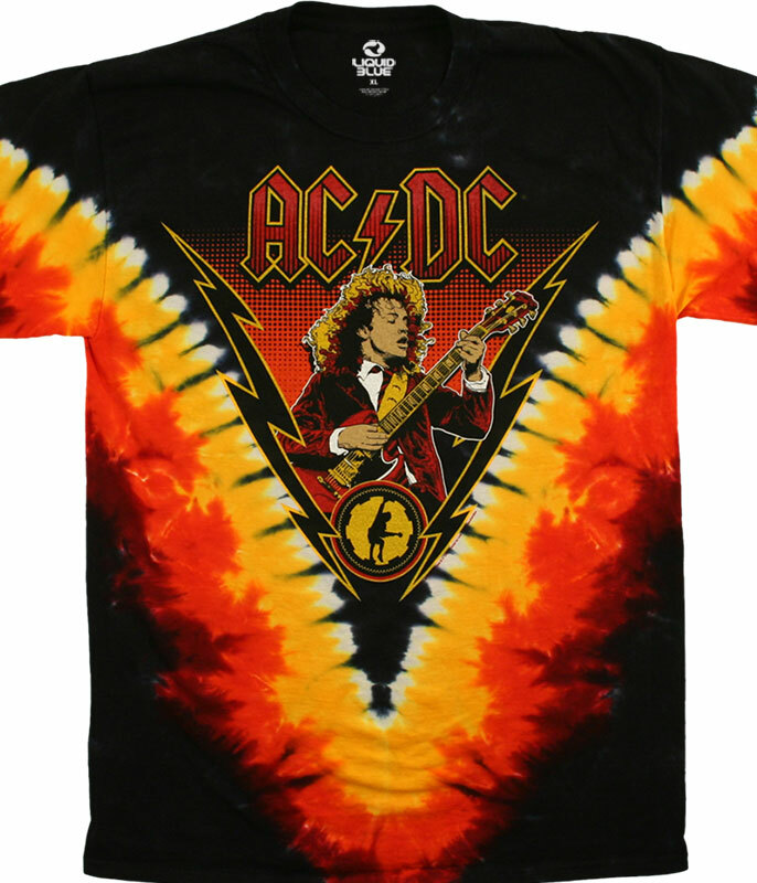 AC/DC Angus Lightning Tie-Dye T-Shirt Tee Liquid Blue