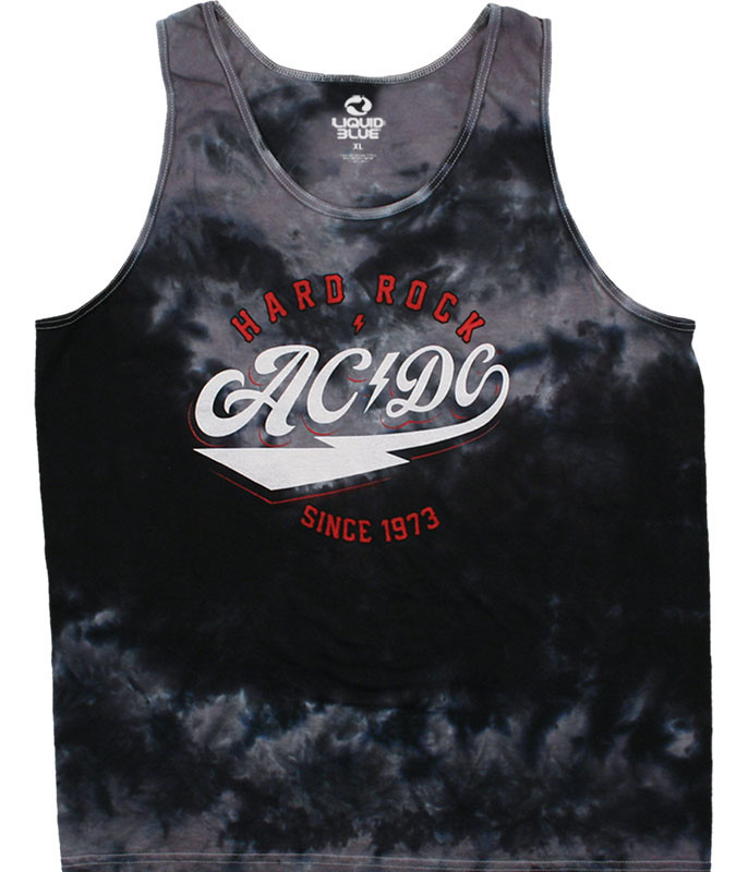 AC/DC Hard Rock Tie-Dye Tank Top T-Shirt Tee Liquid Blue