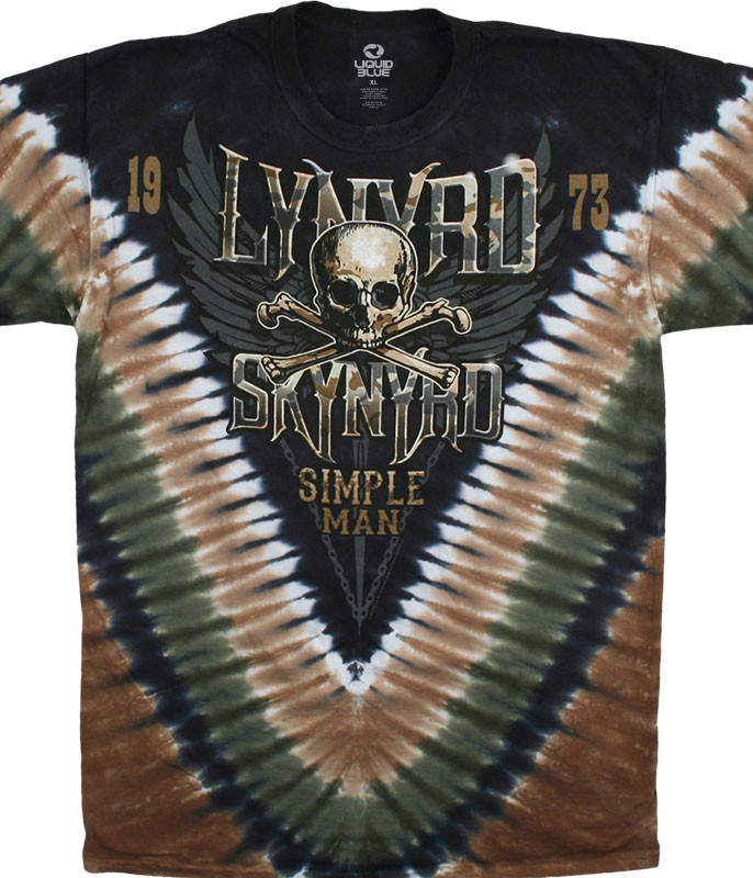Lynyrd Skynyrd Simple Man Tie-Dye T-Shirt Tee Liquid Blue