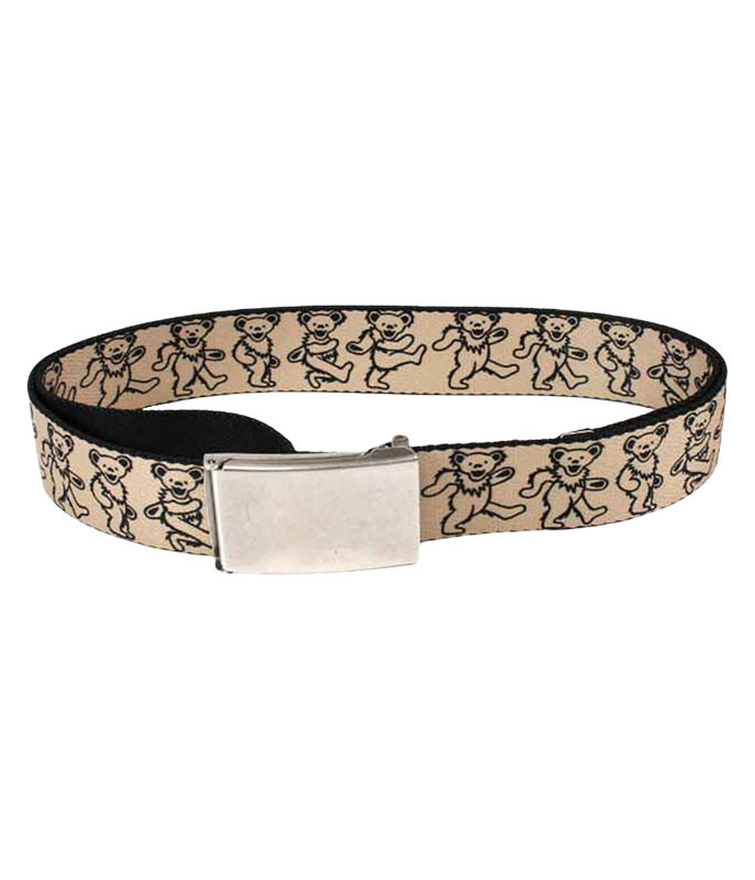 DANCING BEAR ADJUSTABLE WEB BELT TAN SMALL