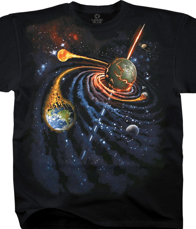 Space Spiral Space Black T-Shirt Tee Liquid Blue