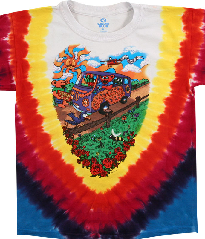 Grateful Dead Summer Tour Bus Youth Tie-Dye T-Shirt Tee Liquid Blue