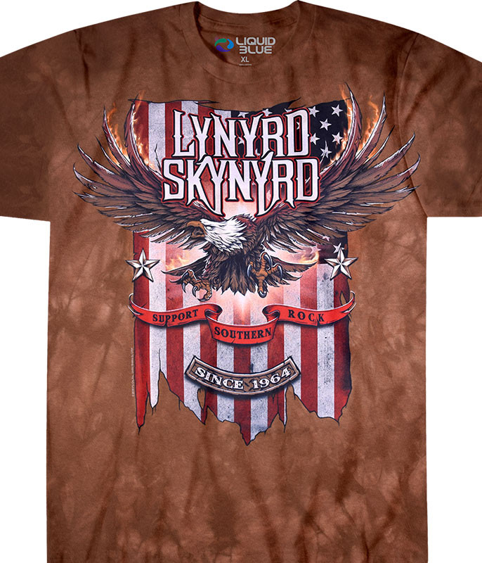 Lynyrd Skynyrd Support Southern Rock Tie-Dye T-Shirt Tee Liquid Blue