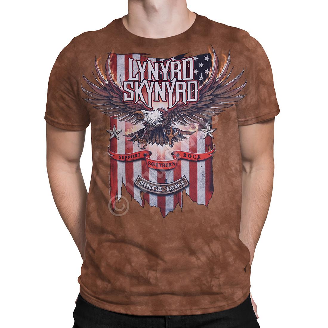 b544fffe89dc73 Lynyrd Skynyrd Support Southern Rock Tie-Dye T-Shirt Tee Liquid Blue