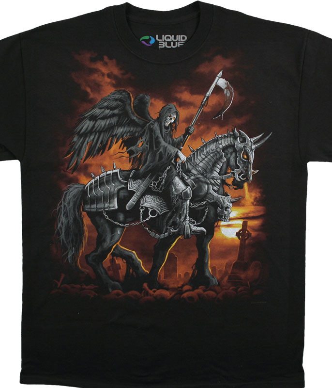 Dark Fantasy Reaper Horse Black T-Shirt Tee Liquid Blue