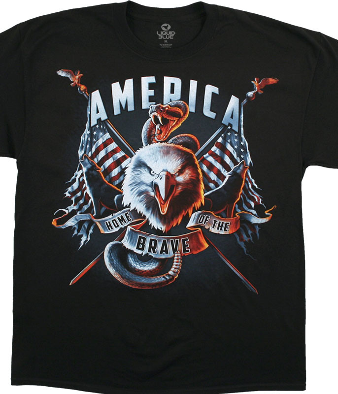 Americana Home of the Brave Black T-Shirt Tee Liquid Blue