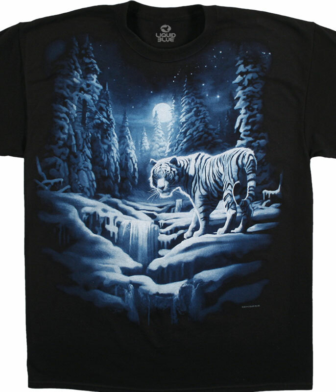 Exotic Wildlife Snow Tiger Black T-Shirt Tee Liquid Blue