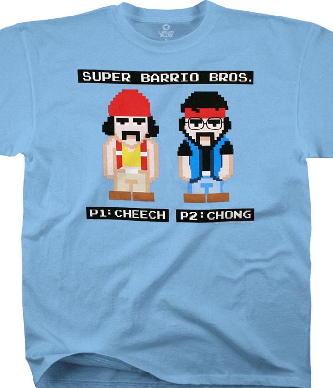 Cheech and Chong 8 Bit Barrio Bros. Light Blue T-Shirt Tee Liquid Blue