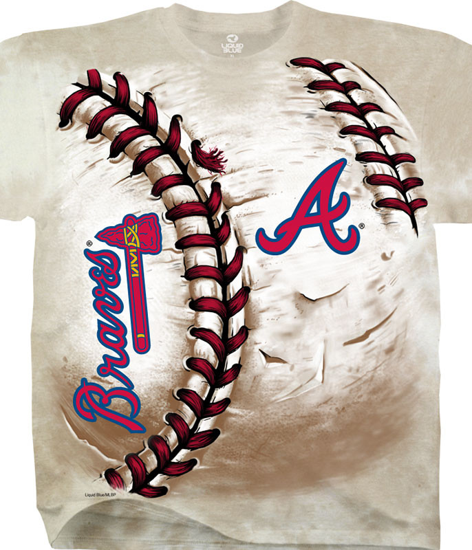 MLB Atlanta Braves Hardball Tie-Dye T-Shirt Tee Liquid Blue