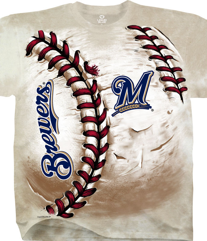 MLB Milwaukee Brewers Hardball Tie-Dye T-Shirt Tee Liquid Blue