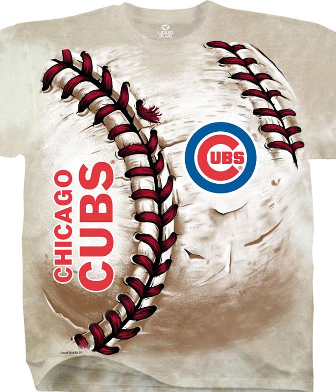 MLB Chicago Cubs Hardball Tie-Dye T-Shirt Tee Liquid Blue