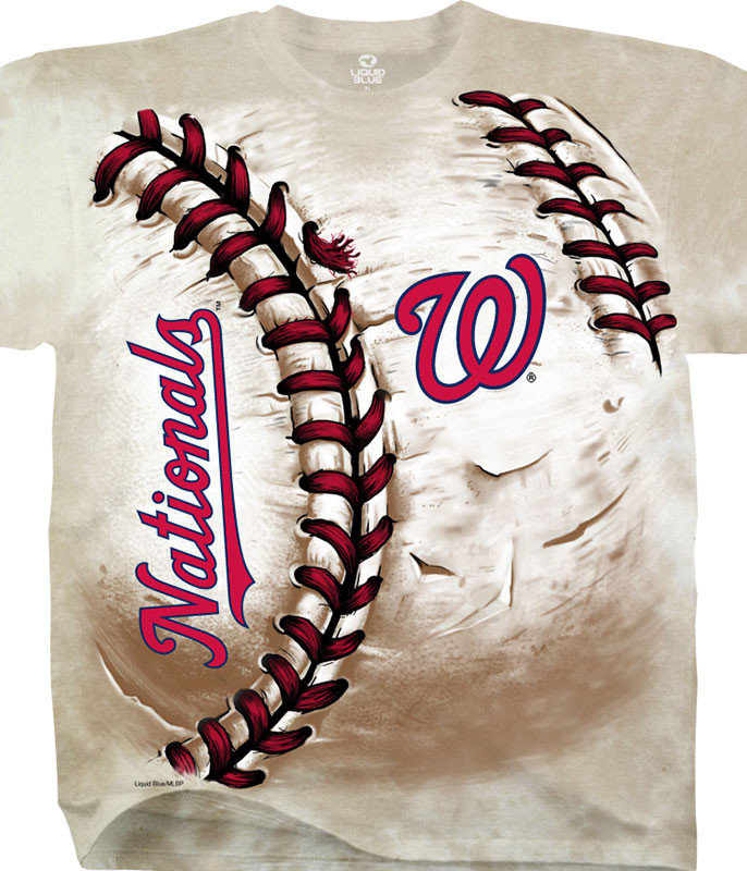 MLB Washington Nationals Hardball Tie-Dye T-Shirt Tee Liquid Blue