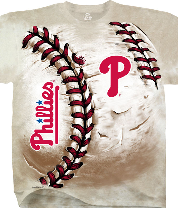 MLB Philadelphia Phillies Hardball Tie-Dye T-Shirt Tee Liquid Blue