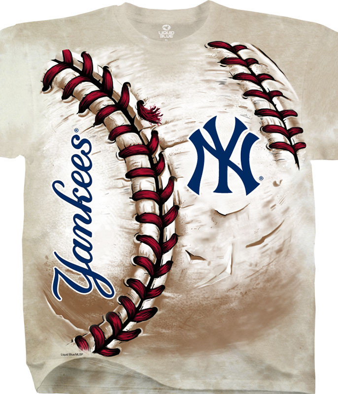 MLB New York Yankees Hardball Tie-Dye T-Shirt Tee Liquid Blue