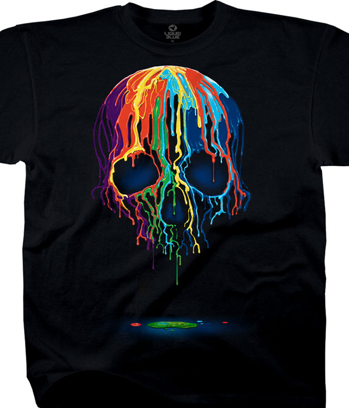 Skulls Melting Skull Black Athletic T-Shirt Tee
