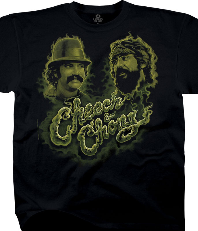 Cheech and Chong Green Smoke Black T-Shirt Tee Liquid Blue