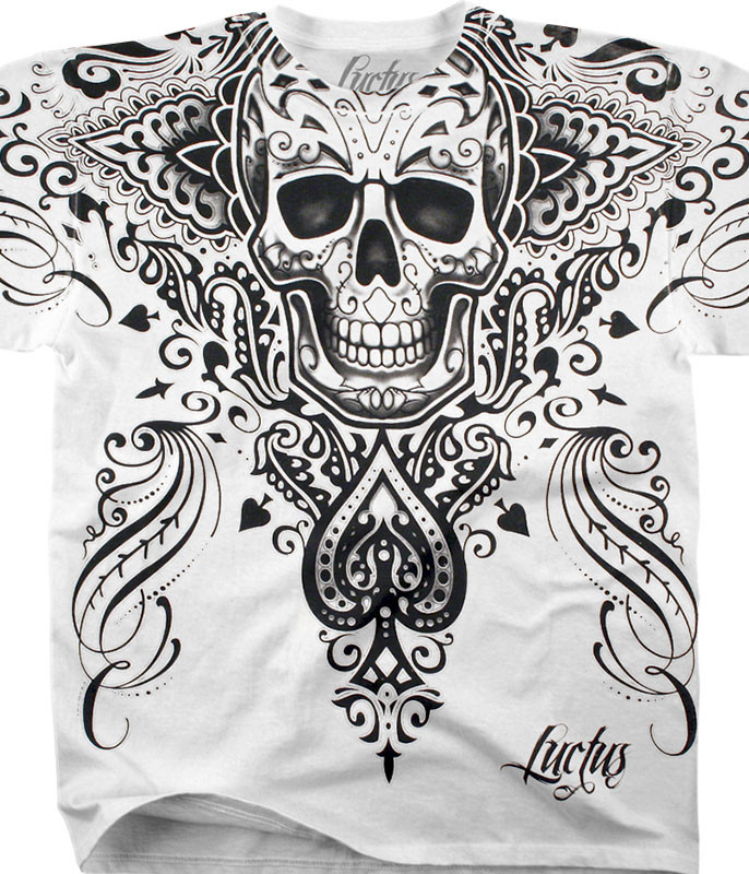 Luctus Spade Skull White Athletic T-Shirt Tee Liquid Blue