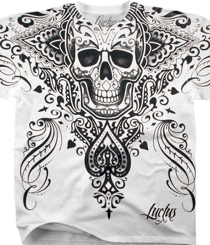 Luctus Spade Skull White Athletic T-Shirt Tee Liquid Blue