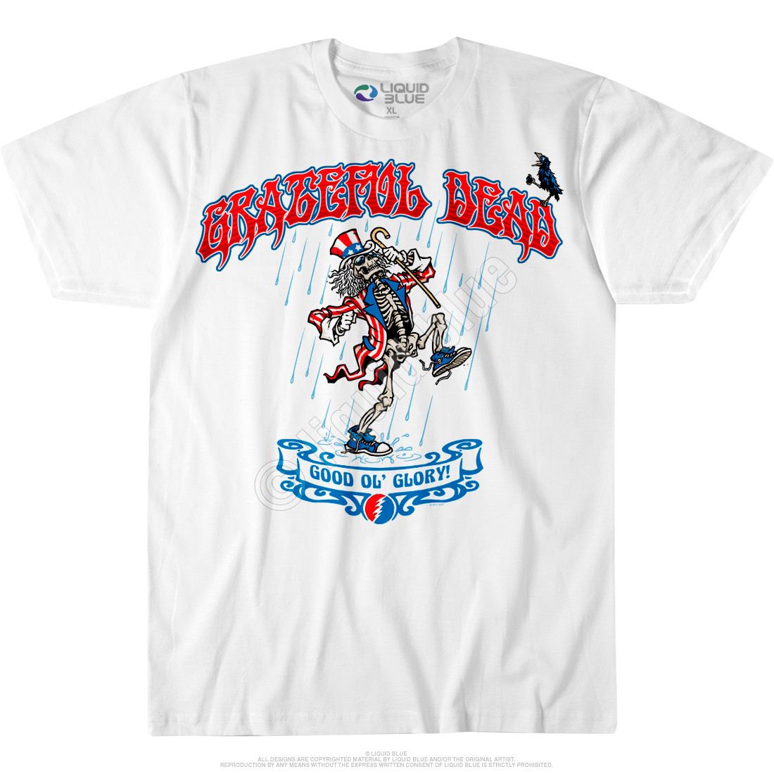 grateful dead good 39 ol glory custom t shirt tee liquid blue. Black Bedroom Furniture Sets. Home Design Ideas