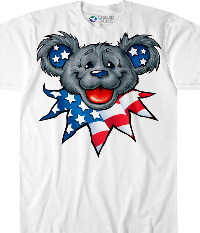 Grateful Dead Patriot Bear Head Custom T-Shirt Tee Liquid Blue