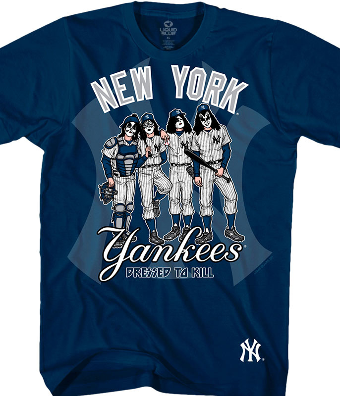 MLB New York Yankees KISS Dressed to Kill Navy T-Shirt Tee Liquid Blue